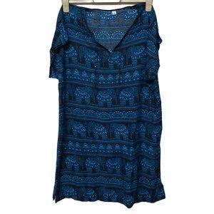 2XL-3XL peasant tunic summer hippie boho  blue